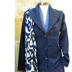 NEW YEAR SALE Blue Jacket Jersey cardigan Fall by NATAfashion