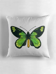 Queen Victoria's birdwing butterfly Throw Pillow #redbubble #butterfly #ink #pillow #katerinakart