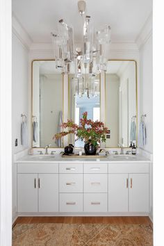 Alpine Medium Chandelier by AERIN / Photography by Margaret Wright Double Bath, Focal Wall, Interior Decorating, Interior Design, Visual Comfort, Design Firms, Lighting Design, Floor Lamp, Chandelier