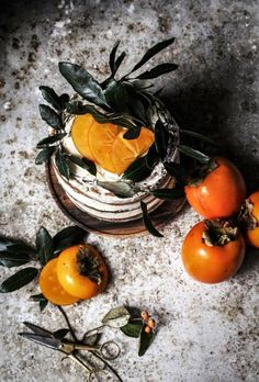 Persimmon and Cinnamon Cake topped with heirloom tomatoes.