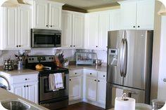 Rustoleum Cabinet Transformations -  Pure White – No glaze.  Rustoleum Countertop Transformations -Desert Sand