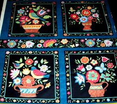 1 Panel Susan Winget Folkloric Vase Block Pillow Quilt Fabric