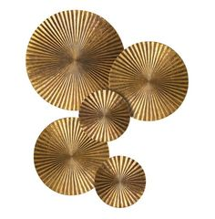 Apollo Metal Wood Crimped Gold Wall Plaque Disc - 12 Inch   Kathy Kuo Home
