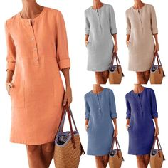 Plus Size Casual Solid Color Cotton Linen Women Long Sleeve Tunic Kaftan Dress length vestidos summer dresses causal clothing Vestidos Vintage Retro, Long Sleeve Tunic Dress, Button Down Shirt Dress, Plain Dress, Braut Make-up, Vestido Casual, Plus Size Casual, Mode Outfits, Plus Size Dresses