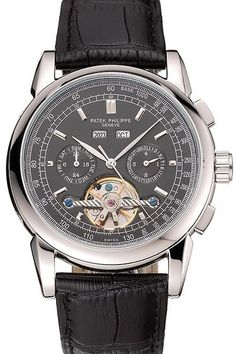 Mens Replica Patek Philippe Grand Complications Black Dial Polished Stainless Steel Bezel Watch With Black Leather Strap