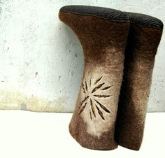 Hand felted shoes for women Coffee and Sun by jurgaZa on Etsy, $190.00