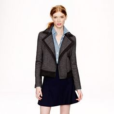 Charcoal, wool, stretch - and it's moto style... partner with a grey sweater dress, black leggings, and boots, I'm in heaven.