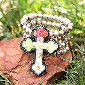 3D Silver Strike Rose Cross Beaded Bracelets