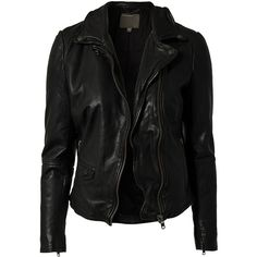Muubaa Lyme Rider Biker Jacket ($430) ❤ liked on Polyvore featuring outerwear, jackets, leather jackets, tops, casacos, black, coats & jackets, womens-fashion, biker jacket and leather rider jacket