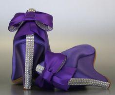 Wedding Shoes  Purple Peeptoe Wedges with by DesignYourPedestal