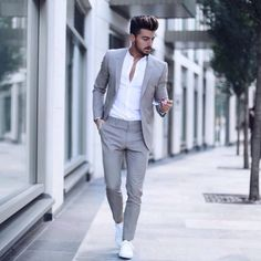 Suit fashion - Men's Classic Solid Color Slim Suit Set Fashion Night, Winter Fashion, Mode Man, Mode Costume, Slim Suit, Herren Outfit, Mens Fashion Suits, Mens Casual Suits, Grey Suit Men
