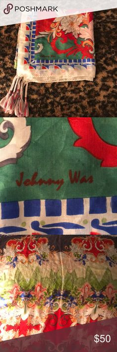 Johnny Was Silk Scarf Vibrant scarf, great for summer. Worn about 3 times. Authentic. Given as a gift. Johnny Was Accessories Scarves & Wraps