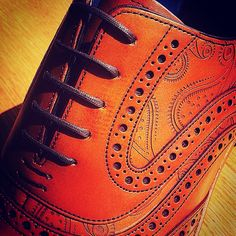 The signs of things to come, #barkershoes goes laser with Paisley designs on the brogues featured in SS15 collection. #menshoes