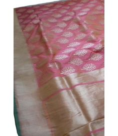 Pink handloom Banarasi Katan Silk Saree-Silver Palloo