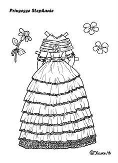 Karen`s Paper Dolls: Stephanie 1-4 Princess Paper Doll to Print and Colour. Stephanie 1-4 Prinsesse påklædningsdukke til at printe og farvelægge.
