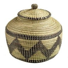$63.65 The Crabby Nook Zigzag African Art Basket with Lid Hand Woven Home Decor