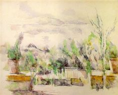 The Garden Terrace at Les Lauves, 1906 - Paul Cezanne - WikiArt.org