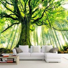 wallpaper custom mural non-woven wall sticker tree forest setting wall is sunshine paintings photo mural wallpaper Bedroom Wallpaper Nature, Tree Wallpaper Living Room, 3d Living Room, 3d Wallpaper For Walls, Kids Wallpaper, Wallpaper Wallpapers, Wallpaper Ideas, Fabric Wallpaper, 3d Wall Murals