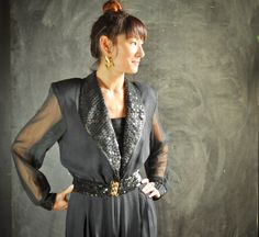 Vintage 80s Sequin Jumpsuit Costume Pantsuit Ugly Christmas Outfit by drowsySwords on Etsy