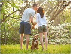 dog, couple, engagement, spring