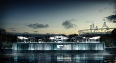 BMW's Olympic Pavilion built on top of a Waterfal