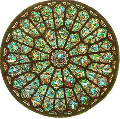 Paris, France; This Rose window sits high in the Notre Dame Cathedral