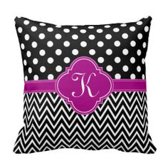Black Fuchsia Dots Chevron Quatrefoil Monogram Pillow.  A chic, girly, classic black and white half polka dot pattern half chevron zigzag print graphic with a bright fuchsia pink modern Moroccan quatrefoil label frame featuring a personalized monogram initial letter template. To change the monogram font style, size, position, or color, click the Customize It! button.
