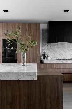 Modern Kitchen Design, Modern House Design, Interior Design Kitchen, Kitchen Decor, Interior Decorating, Home Design, Küchen Design, Kitchen Benchtops, Contemporary Interior