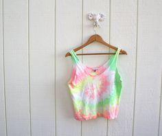 tank top . neon tie-dye crop top  Karen Linder:)