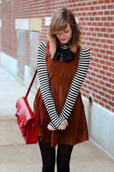 asos bow, lulu's corduroy ladakh dress, striped forever21 turtleneck, nyc vintage blogger, vintage blogger, nyc fashion blog