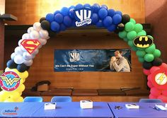 Inflated Creations: Serving the Greater Tri-State area's custom balloon design and party decor needs since Balloon Arch, Balloon Garland, Balloon Decorations, 2nd Birthday Parties, Birthday Balloons, Boy Birthday, Superhero Balloons, Superhero Party, Justice League Party