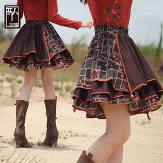 Расклешенная комбинированная юбка с окантовкой в этническом стиле