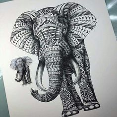 Elephant tattoo. Geometric style