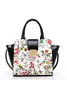 Wonderful vintrage handbag...Colorful!  Vintage  Printed  Twistlock  Handbag   black  white  red  gold  persun  PersunMall .com .com 0e9ee56c54f99