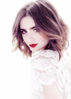 Lilly Collins - Makeup - Red Lipstick on a flawless skin. Organic Sweet Potato Lotion. Get it @MySkinsFriend.com