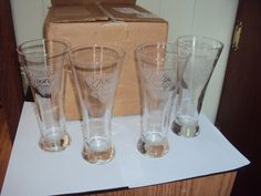Joe's Lounge Camel Cigarettes Pilseners Etched Beer Glasses 11oz-Set of 4 by ReplaceMe on Etsy