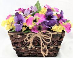 Basket of Pansies, Handmade, Etsy, Faux Floral Arrangement, Artificial Arrangement, Home Decor, Lavender, Etsy Shop, Flowers, Love, Unique by DesignsByDiana2016 on Etsy