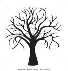 black tree without leaves on white background, vector image by Nikitina Olga, via Shutterstock Leaf Images, Tree Images, Tree Silhouette, Silhouette Vector, Tumblr Roses, Tree Stencil, Stencils, Tree Clipart, Picture Tree