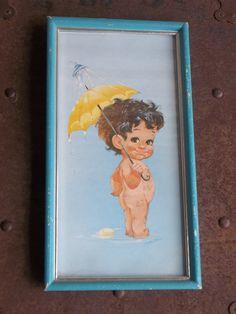1960s Retro Kitschy Bathroom Wall Picture Boy by vintageposie