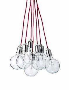 Einfach toll: Sieben Glühbirnen strahlen an pinkfarbenen Kabeln um die Wette, von Bloomingville (Incl. Elektrik und Leuchtmittel).