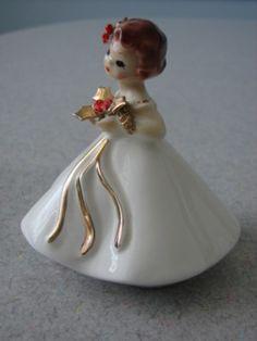 Vintage Josef Originals Christmas girl figurine.