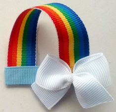 Rainbow Hair Clip  Bow  Clippie by TheSweetPeaBowtique on Etsy, $3.00