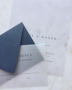 modern + minimal wedding invitations | vellum wedding invitations | wedding stationery inspiration | blue wedding stationery
