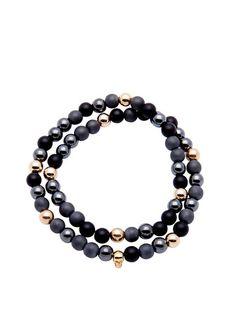 Men's 14K Gold Collection, Skull Bead, Matte Onyx, Matte Hematite