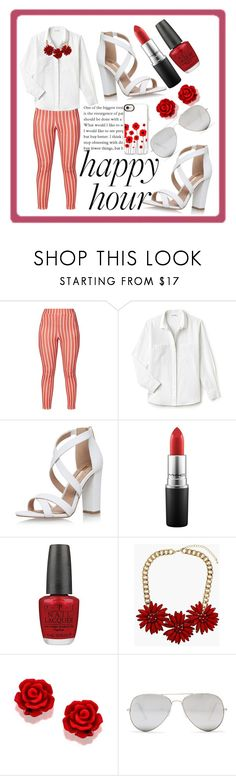 """Red Hot Happy Hour"" by kayjohnson2584 ❤ liked on Polyvore featuring Lacoste, Miss KG, MAC Cosmetics, OPI, Topshop, Sunny Rebel and Casetify"