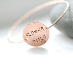 Stamped Bangle, Stamped Bracelet, Copper Jewelry, Hippie Jewelry, Brass Bangle, Minimalist, Word Jewelry, 1960's - Flower Child