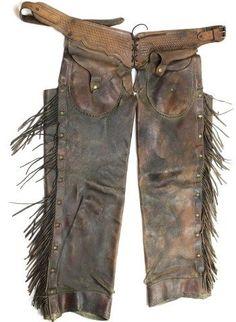 Pair antique leather shotgun chaps
