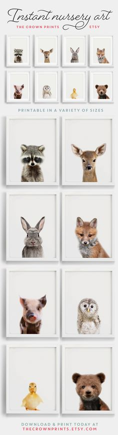 Woodland Animals nursery art - Printable art from TheCrownPrints on Etsy More