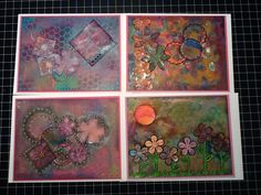 Squares, Circles & Flowers. Handmade A7 cards using Gelli plate and mixed media.