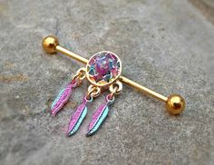 Gold Industrial Barbell Dream Catcher Fire Opal Center 14ga Body Jewelry Ear Jewelry Double Piercing Feathers